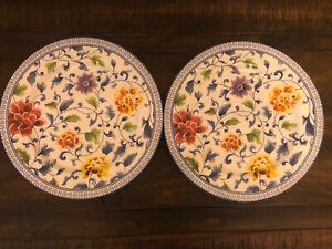 Ralph Lauren Macao Multi-Color Floral Porcelain Salad / Accent  Plates Set of 2
