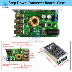 4-port USB Step Down Buck Power Supply Converter Board+Case 24V/12V to 5V 5A