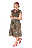 Women's Vintage Retro Rockabilly Winter Leaves Fit n Flare Dress BANNED Apparel