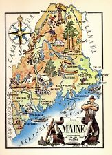 1950s  Vintage MAINE Picture Map Vintage Pictorial Map of Maine 4079