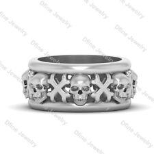 Solid 925 Silver Crossbones Gothic Skull Ring Mens Band Skull Bones Jolly Roger