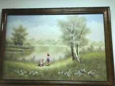Oil On Canvas Painting Of Tranquil Setting