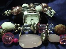 Woman's Narmi Watch & 2 Beaded Bands **Pink & White Chunky **Vintage** B77-B086