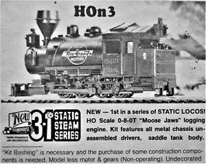 HOn3: 0-8-0T 'Moose Jaws' Logging Locomotive, a cast metal, brass & styrene kit
