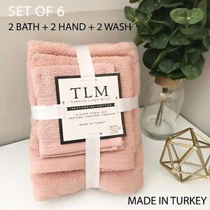 6-PC SET TLM Turkish Linen Mills Cotton Wash Bath Hand Towels TURKEY MADE Pink
