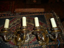 Antique pair of brass 2 light wall sconces