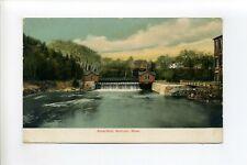Methuen MA Mass antique postcard, Waterfalls, stonework, buildings, river