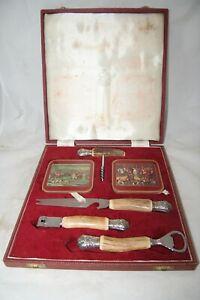 Vintage Cased Samuel Peace Hunting Set - 6 Coasters, Corkscrew, Bottle Opener