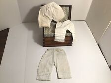 3 Pair Antique Doll Pantaloons With Tucks & Lace Trim