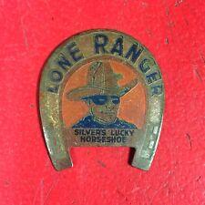 """1938 LONE RANGER """"SILVER'S LUCKY HORSESHOE"""" ENAMELED BRASS BADGE 1 3/8"""""""