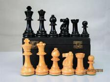 VINTAGE CHESS SET  LOADED FRENCH STAUNTON PATTERN K 3 inch AND ORIG BOX NO BOARD