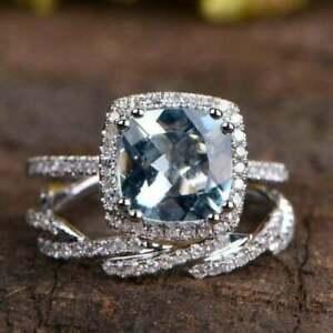3.50Ct Cushion Cut Aquamarine Bridal Set Engagement Ring 14K White Gold Finish