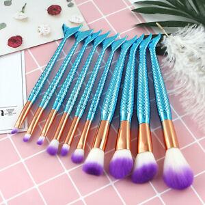 10Pcs Mermaid Makeup Brushes Set Foundation Blusher Eyeshadow Cosmetic Brushes