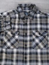 MOUNTAIN HARDWEAR Mens Medium M Gray Black Flannel Button Up Long Sleeve Shirt