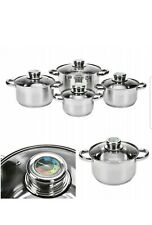 Pcs STAINLESS STEEL INDUCTION HOB POT SET TEMPERATURE CONTROL COOKWARE SAUCEPAN