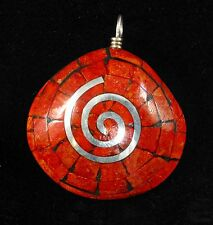 Native American Apple Coral and Silver Inlay Asian Clam Shell Pendant
