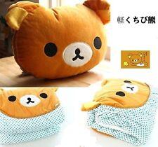 FD4349 Rilakkuma Relax Bear Back Cushion Pillow Air Conditioning Blanket 2in1