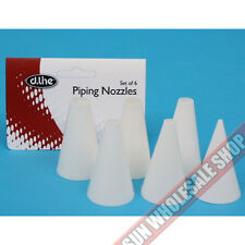 100% Genuine! D.LINE Plain Plastic Pastry Piping Nozzles Set of 6! RRP $19.95!