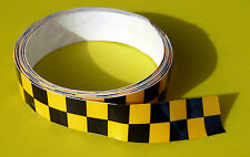 CAFE RACER 'Double' CHEQUERED HELMET TAPE Yellow sticker 1220x13mm 2 LENGTHS!