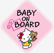 PINK GIRL HELLO KITTY BABY ON BOARD WINDOW DECAL STICKER VINYL GRAPHICS