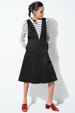 FRONT ROW SHOP Deep V-Neck Black Pinafore Dress - Size S