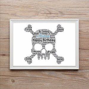 Pirate Skull & Crossbones Personalised Word Art Gift Print Birthday Gift Present