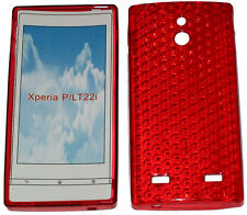 Pattern Soft Gel Case Protector Cover For Sony Xperia P LT22i LT22 Red New UK