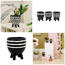 Monochrome Planter on Legs - Polka Dot - Striped - Porcelain Plant Pot