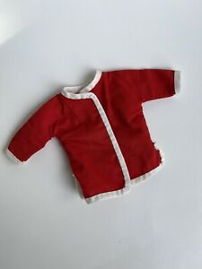 """Vintage Doll Red and White Oriental Jacket or Pajama Top, 12-14"""" Fashion Doll?"""