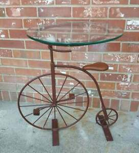 Vintage Iron Bicycle Table Round Glass Top Distressed Burgundy Plant Stand