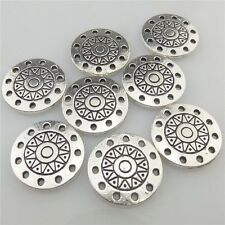 19436 30pcs Vintage Silver Alloy Sun Flower Round Pendant Connector for Bracelet