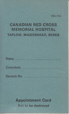 Appointment Card. Canadian Red Cross Memorial Hospital. {Closed 1985}