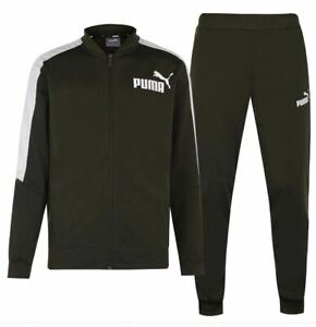 PUMA Poly Tracksuit Mens Jacket Joggers Green Size UK Medium M  *REF154