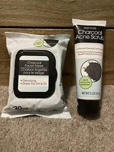 New 30 Count Charcoal Facial Wipes & Deep Pore Charcoal Acne Scrub Detoxifying
