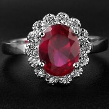Handmade Natural 2.80ct Ruby Size US 7 14K White Gold Ring CM139