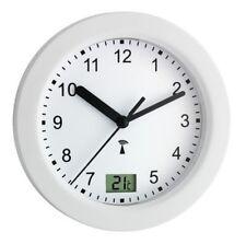 Baduhr Badezimmeruhr Uhr Wanduhr Funk funkgesteuert Temperatur Saugnapf weiß