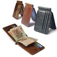 Men's Leather Purse Slim Money Clip Wallet Front Pocket Case Credit Card Holder