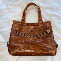 Dooney & Bourke Sara Croc Embossed Leather Tote Hobo Shoulder Bag Large
