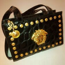 GIANNI VERSACE COUTURE EMBOSSED PATENT LEATHER MEDUSA HANDBAG BLACK ITALY XLENT