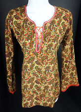 BIBA Womens Euro 34 Paisley Tunic Peasant Festival Top Shirt Pullover cover Up