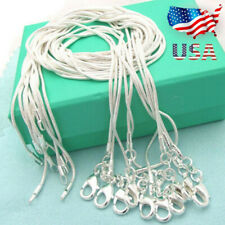 "Xmas Wholesale 925 Sterling Silver Lots 10pcs 1mm Snake Chains 16-30"" Necklace Q"