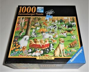 RAVENSBURGER JIGSAW PUZZLE 1000 PC AT THE DOG PARK COMPLETE