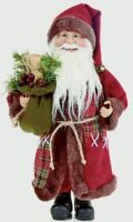 40 Cm H Traditional standing Father Christmas Santa Figures Glasses Red XmasTree