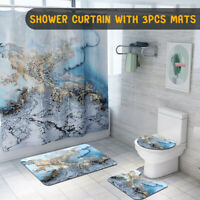 Blue Marble Bathroom waterproof Shower Curtain Non Slip Toilet Cover Rug Mat Set