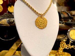 PURE GOLD NECKLACE COLOMBIA 2 ESCUDOS 1622 ATOCHA PENDANT COIN JEWELRY TREASURE