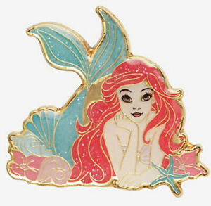 Disney Loungefly The Little Mermaid Ariel Cute Pose Glitter Gold Tone Pin