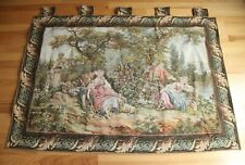 """Vintage Tapestery Wall Hanging Baroque 67"""" x 47"""" Ladies Lords Courtship Nature"""