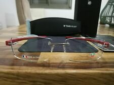 TAG HEUER Reflex Brushed Silver Dark Red Arms rimless Glasses TH 3941 012 56-16