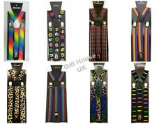 Check Braces Pattern  Design Style Unisex Trouser Elastic Y-Back Suspenders Clip