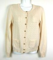 J Crew Size Small Womens Cardigan Sweater Pink Wool Nylon Cashmere Cable Knit